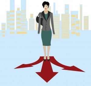 vector image of a confused businesswoman