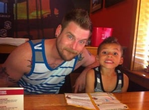 Ben and Jre'Lyn at the couple's first family dinner at a restaurant